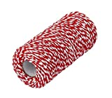 red and white butcher paper - 1 Roll 100m/328 Feet Multifunctional Cotton Bakers Twine String Glass Bottle Gift Box Decor Craft Packing Rope Perfect For Baking Butchers and Christmas Gift Wrapping (Red+White)