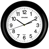 Adalene Wall Clocks Battery Operated Non Ticking 13 Inch Large Wall Clock Silent, Black Numbers, Quiet Analog Quartz Decorative Wall Clock For Kids Bedrooms, Living Room, Kitchen, Bathroom