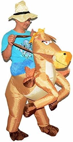 Hitsan - Disfraz hinchable de caballo de vaquero para fiesta de ...