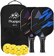 niupipo ickleball Paddles - Pickleball Paddle Set of 2, Pickleball Set, 4 Pickleball Balls and 1 Pickleball Ba