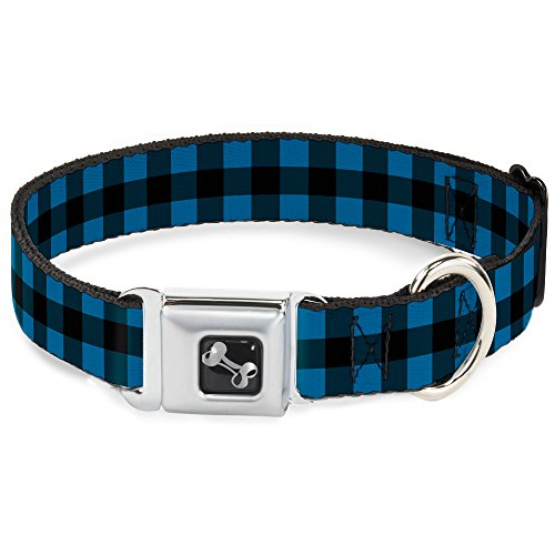(Buckle-Down Seatbelt Buckle Dog Collar - Buffalo Plaid Black/Turquoise - 1