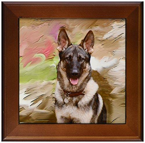 3dRose ft_3937_1 German Shepherd-Framed Tile, 8 by 8-Inch ()
