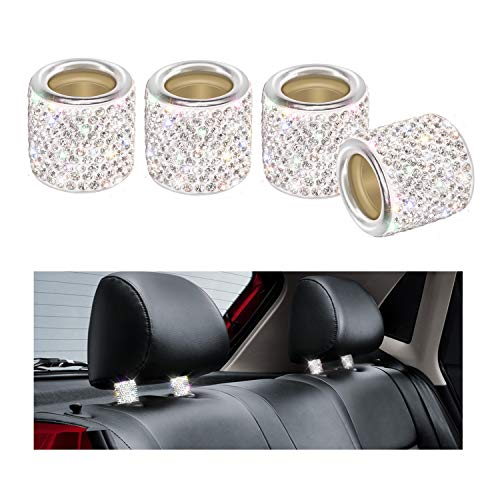 Car Headrest Collars, YINUO 4 Pack Crystal Car Seat Headrest Decoration Charms For Auto Car Truck SUV Vehicle - Silver