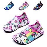 lewhosy Kids Boys and Girls Swim Water Shoes Quick Drying Barefoot Aqua Socks Shoes for Beach Pool Surfing Yoga(32/cnicorn Pink)