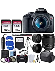 Canon EOS Rebel T7 Digital SLR Camera with 18-55mm EF-S f/3.5-5.6 is II Lens + 58mm Wide Angle Lens + 2X Telephoto Lens + Flash + 2X 32GB SD Cards + 3 Piece Filter Kit + Tripod + Full Accessory Bundle