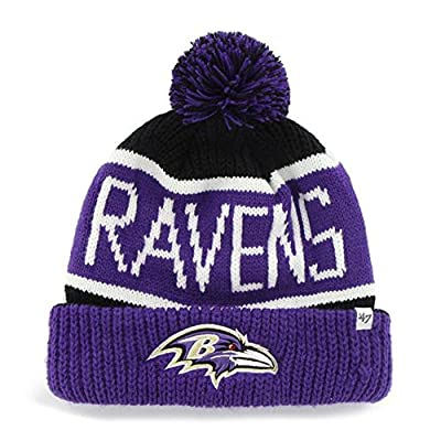 Baltimore Ravens Black Calgary Cuffed Pom Knit Beanie Hat / Cap