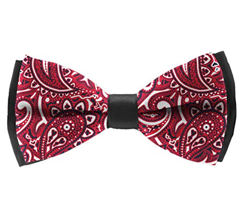 L Wright-King Paisley Bandana Pre-Tied Adjustable Men's Bow Tie for Boys Gift ()