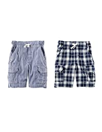 Carter's Baby Boys 2 Pack Soft Lightweight Pull-On Shorts Navy And Multi