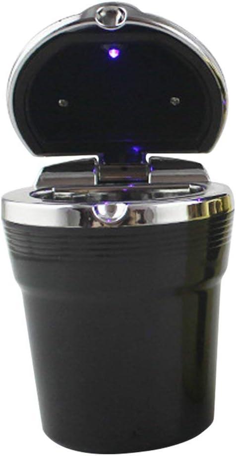 EmNarsissus Cenicero de Coche Cenicero de luz LED Cenicero de Coche de Metal Cuadrado
