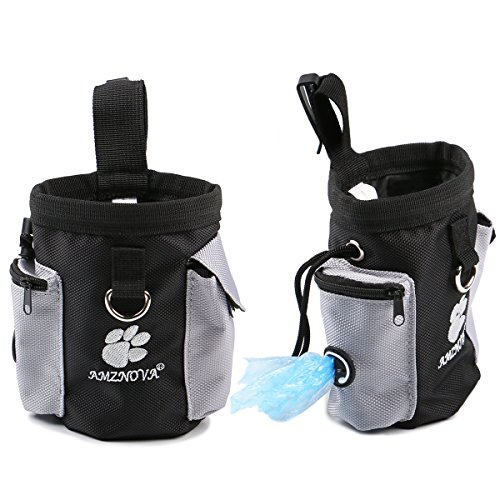 AMZNOVA Dog Treat Bag, Puppy Training Pouch Pet Small Dog Bait Holder, Animal Walking Snack Container Best Hiking Toys Pack Dispenser Carries