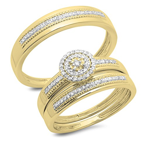 Dazzlingrock Collection 0.27 Carat (ctw) 14K Round Diamond Men & Women's Cluster Engagement Ring Trio Set 1/4 CT, Yellow Gold ()