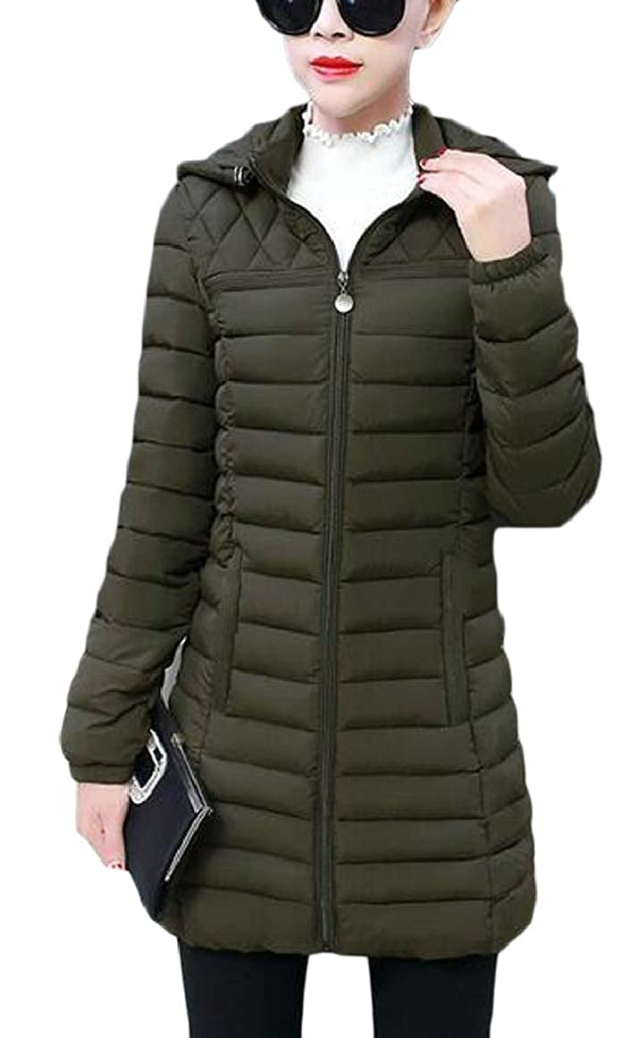 RG-CA Womens Winter Slim Fit Packable Hooded Long Quilted Down Coat