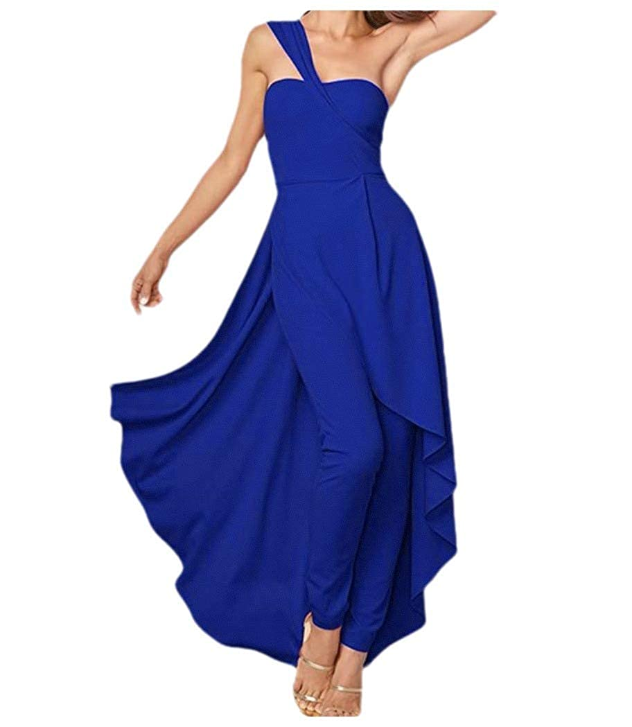 Zimaes-Women Solid Elegant One Shoulder Swing Romper Playsuit Jumpsuit