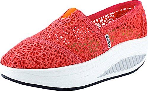 Sneaker Slip-on In Pizzo Donna Rosso Di Mirah Giugno
