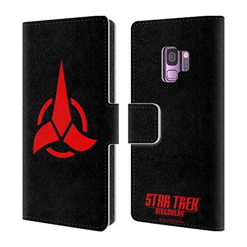 Official Star Trek Discovery Klingon Badges Leather Book Wallet Case Cover For Samsung Galaxy S9