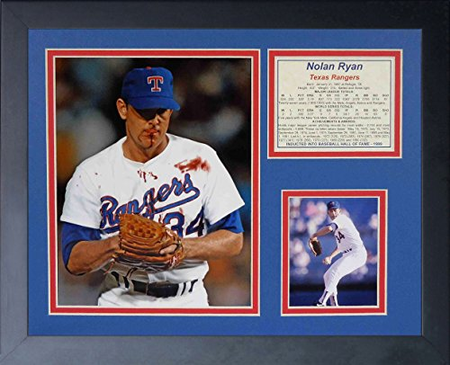 Legends Never Die Nolan Ryan Bloody Lip Framed Photo Collage, 11 by 14-Inch (Frame Glass Art Rangers Texas)