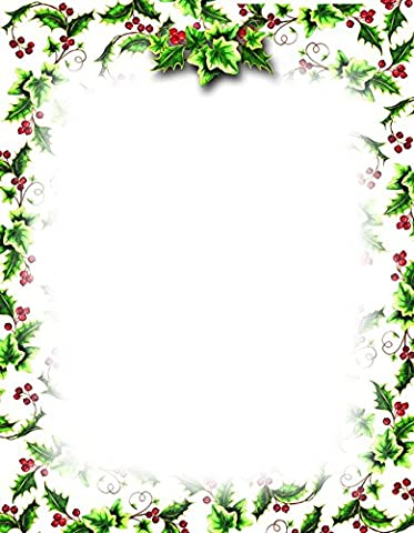 Geographics Holly Ivy Christmas Letterhead, 8.5 x 11 Inches, Design, 80-Sheet Pack (49736W) - Christmas Design Pack