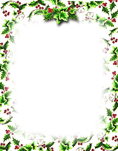 Geographics Holly Ivy Christmas Letterhead, 8.5 x 11 Inches, Design, 80-Sheet Pack (49736W) (Christmas Paper Geographics)