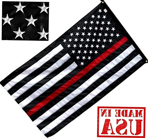 (Werrox US Flag Factory 3'x5' Thin RED Line American Flag (Embroidered Stars, Sewn Stripes) for Firefighters - SolarMax Nylon Outdoor - Made in America! | Model FLG - 449 | 3'x5')