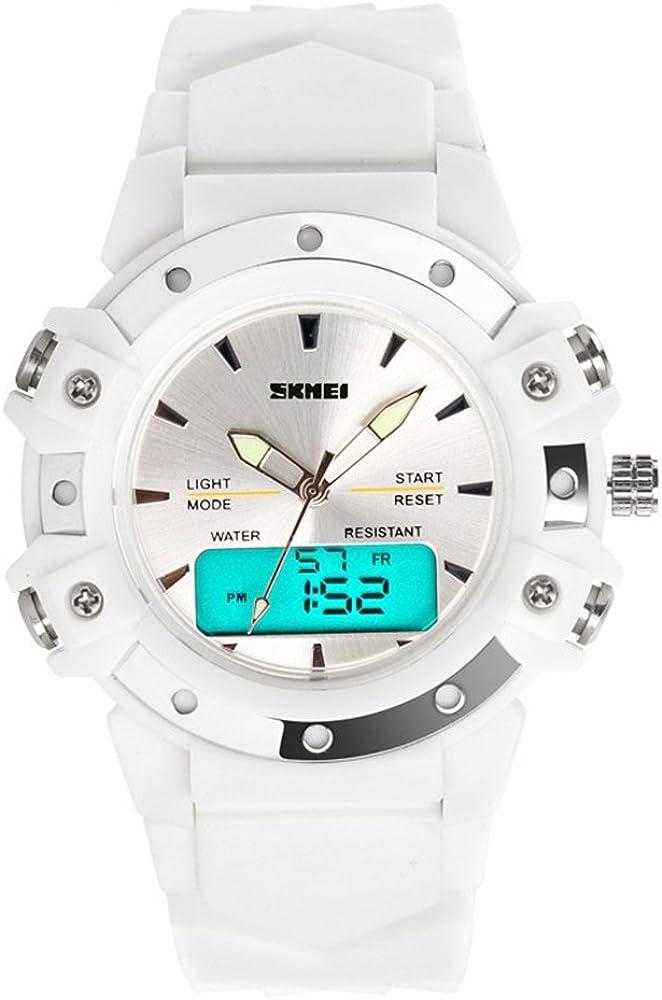 TONSHEN Moda Relojes de Pulsera Mujer Deportivo LED Electrónica Digital Dial Time Militares 12H / 24H Horas 5ATM Resistente al Agua Analógico Cuarzo Calendario Cronómetro