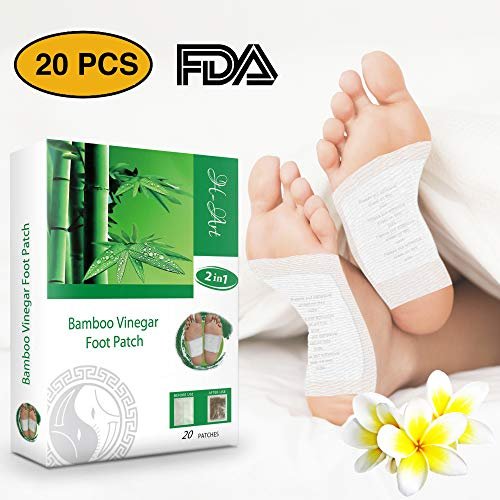 H-Art FDA Certified Foot Pads, 2in1 (20pcs) - Pain Relief, Antistress, Body Cleansing and Sleep Better - 100% Organic Foot Patches - New 2019 Formula - Fat Bamboo
