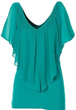 75e0cd98ca9b29 S-Fly Women s Stylish Deep V-Neck Chiffon Cap Sleeve Blouse T-Shirt ...