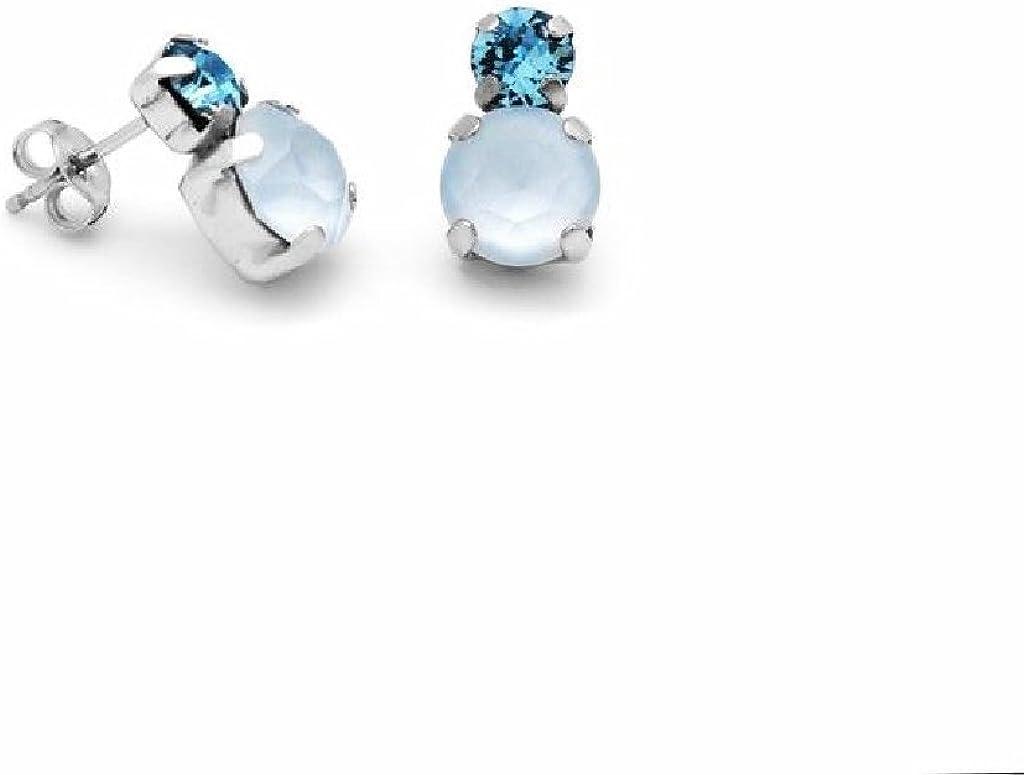 Pendientes Fiesta de Mujer Plata Cristales SWAROVSKI Azules Presión Tamaño 8 x 13 mm