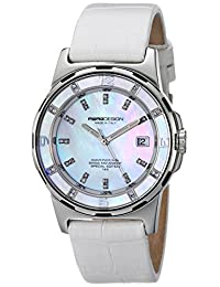 Momo Design Women's MD093-E02SL-LS Pilot Lady Diamond-Accented Stainless Steel Watch with White Leather Band