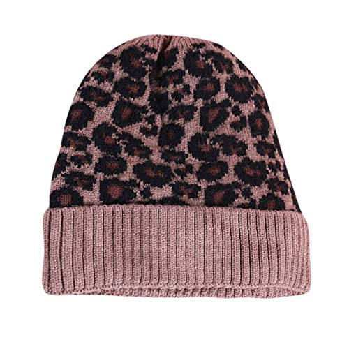 Hristmas Decorations, Womens Winter Warm Leopard Print Knitted Sleeve Hat Plus Velvet Wooly Cap,Women's Gloves & Mittens,Khaki,One Size