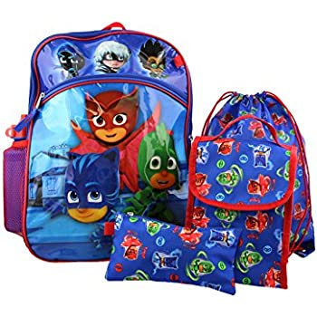 PJ Masks 5 piece Backpack School Set (One Size, Blue/Red)
