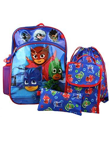 PJ Masks 5 piece Backpack School Set (One Size, Blue/Red)
