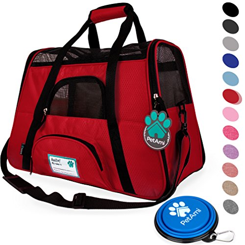 PetAmi Premium Airline Approved Soft-Sided Pet Travel Carrier | Ventilated, Comfortable Design with Safety Features | Ideal for Small to Medium Sized Cats, Dogs, and Pets (Small, Red)