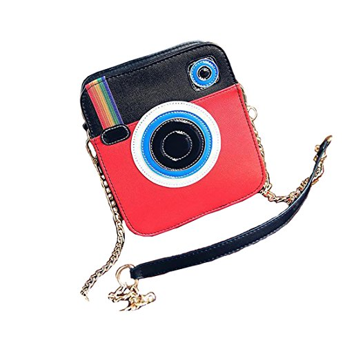 Purse Handbag Girls (LA CHA Womens Girls Cute Rainbow Snapshot Camera Design Shoulder Crossbody Purses (Red))