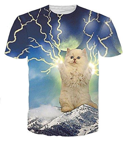 こどもセンタールーキー平和的Wiboyjp メンズ tシャツ 猫 ネコ 3d ヒップホップ サンダー 稲光 雷 稲妻 スウェット ストリート系 t shirt 半袖tシャツ 春 夏 猫柄 プリント おもしろ おしゃれ ユニセックス