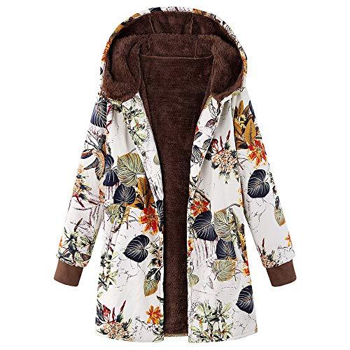 JOFOW Womens Jackets Coats Plus Size Boho Flowers Floral Print Fleece Lined Hooded Long Vintage Loose Warm Padded Parka Winter (5XL =US:22-26,Orange)