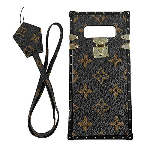 jiehao Compatible with Samsung Galaxy Note 8 Case,Vintage Elegant Luxury Designer Monogram PU Leather Back with Lanyard Soft Bumper Shock Trunk Protective Phone Case Cover for Note 8 -