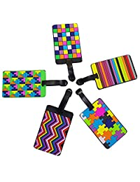 Lalonovo Luggage Tags/ Business Card Holder/ Travel ID Bag Tag(Pack of 5) (Colorful 1)