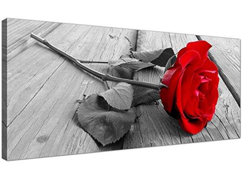 Wallfillers 1005 - Lienzo decorativo para pared, diseno de rosas rojas, color blanco y negro