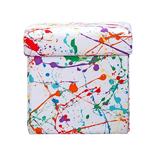 SIScovers Crayola Splat Box Ottoman White - Square by SIS Covers