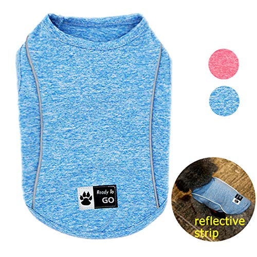 kyeese Dog Shirt Sports Soft Breathable Dog T-Shirt with Reflective Strip Athletic Tank Top Vest Cat -
