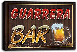 scw3-108956 GUARRERA Name Home Bar Pub Beer Mugs Cheers Stretched Canvas Print Sign