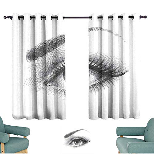 HCCJLCKS Extra Wide Curtains Eye Pencil Drawing Artwork of a Staring Female Eye with Long Lashes and a Curvy Eyebrow Set of Two Panels W55 xL63 Grey White
