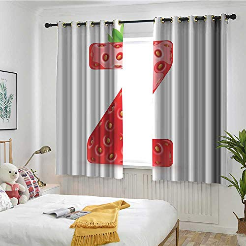 Letter Z Blackout Curtain Gourmet Food Tasty Summer Fruits Inspired Alphabet Z Typescript Design Blackout Draperies for Bedroom W 63