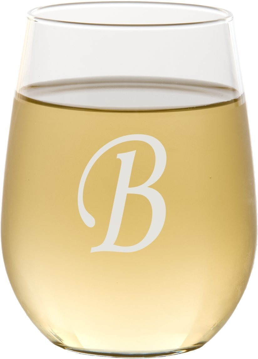1 Custom Initial Stemless Wine Glass - SG03
