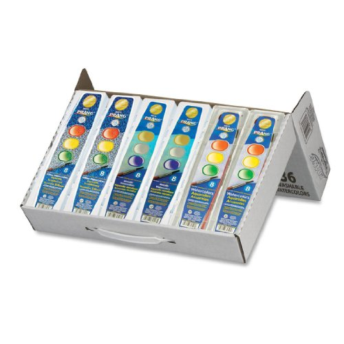 Prang Classroom Master Pack, 12 each: 8-Color Basic Watercolor Sets, 8-Color Glitter Watercolor Sets, 8-Color Metallic Watercolor Sets, 80519 (Basic Glitter)