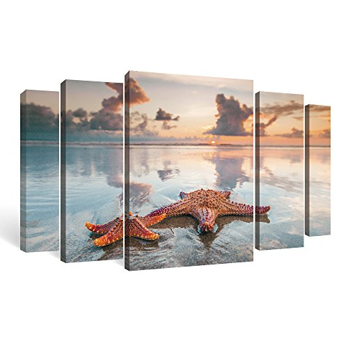 SUMGAR Clearance Sale-Starfish Wall Art Decor Large Framed Art Prints for Living Room 5 Piece
