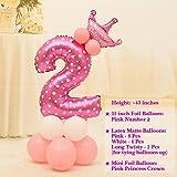 PlayAge Children Birthday Party Number Balloon Set - 16 PCS Set (2, Girl Pink)