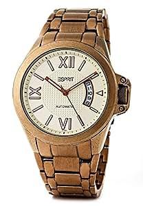 Esprit ES101311704 - Reloj analógico de caballero automático con correa de acero inoxidable dorada - sumergible a 5 bares