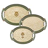 Grasslands Road 472002 Celtic Ceramic Gift Boxed Nested Trays (2 Pack), Large, Green/Lime/Cream/White/Brown/Gold