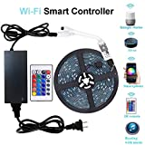 WenTop Wifi Wireless Smart Phone Controlled Led Strip Light Kit with DC12V Power Supply Waterproof SMD 5050 16.4Ft(5M) 300leds RGB Tape Lights with Timer and Work with Android, IOS and Alexa